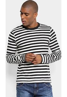 Camiseta Forum Listrada Manga Longa Masculina - Masculino-Branco+Preto