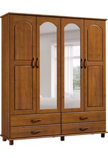 Guarda-Roupa Casal Com Espelho Esmeralda 4Pt 4Gv 1414T Imbuia