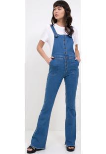 270d525dc3 ... Macacão Jeans Longo Com Botões
