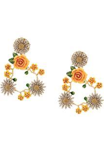 Dolce & Gabbana Par De Brincos Florais - Amarelo
