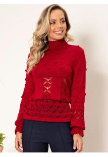 Blusa De Tricô Vermelha Gola Alta