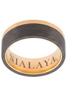 Nialaya Jewelry Anel De Aço Inoxidável Com Recortes Contrastantes - Amarelo