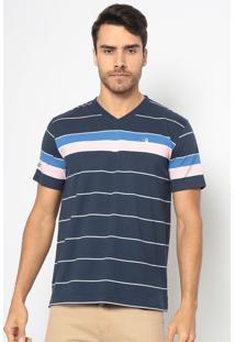 Camiseta Listrada- Azul Marinho & Rosa Claroaleatory