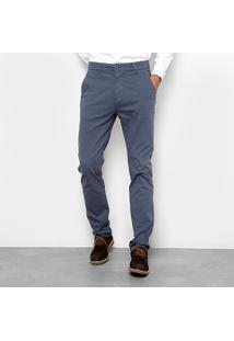 Calça Sarja Slim Foxton Casual Masculina - Masculino-Azul
