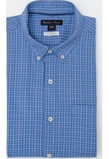 Camisa Social Manga Curta Comfort Xadrez Bicolor