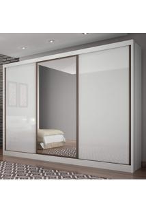Guarda Roupa Casal Com Espelho 3 Portas 6 Gavetas Spazzio Siena Móveis Branco