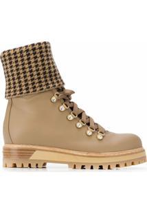 Le Silla Ankle Boot Com Padronagem Pied-De-Poule - Marrom