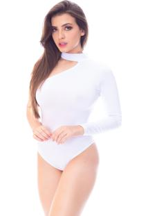 Body Moda Vício Um Ombro Só Gola Alta Manga Longa Branco