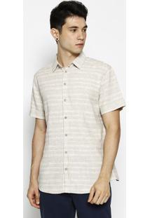 Camisa Slim Fit Com Linho- Bege- Forumforum
