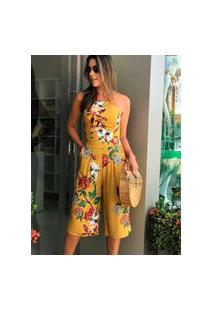 Macacão Miss Misses Pantacourt Estampado Amarelo