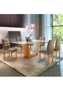 Conjunto De Mesa De Jantar Com 6 Cadeiras Viggor L Jacquard Off White E Marrom