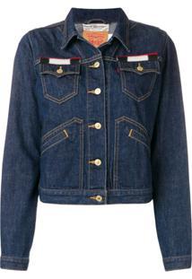Jessie Western Jaqueta Jeans Com Patch - Azul
