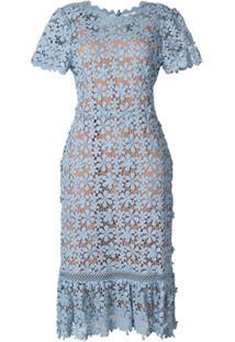 5df81f516a741 ... Michael Michael Kors Vestido Midi De Renda Floral - Azul