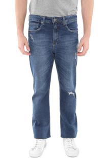 Calça Jeans Calvin Klein Jeans Reta Relaxed Destroyed Azul
