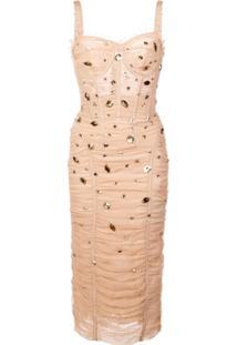 19fe6a0e1e49f ... Dolce   Gabbana Vestido Drapeado Com Aplicações - Neutro