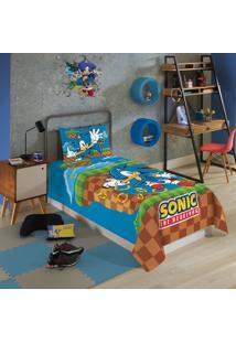 Jogo De Cama Infantil Solteiro Lepper Sonic 2 Peças Azul