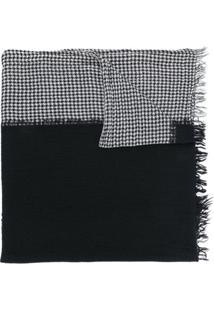 Yohji Yamamoto Cachecol Pied-De-Poule De Lã - Preto