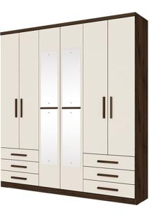 Guarda Roupa Savini 6 Portas Café Off White
