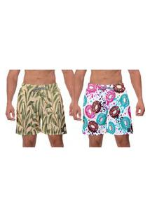 Kit 2 Shorts Moda Praia Bege Floral Estampado Rosquinhas Coloridas Masculino Poliéster Elastano Banho W2