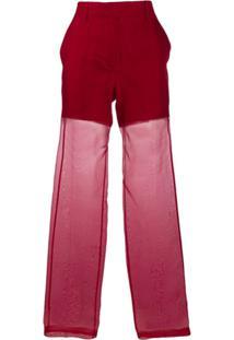 Helmut Lang Organza Straight-Leg Trousers - Vermelho