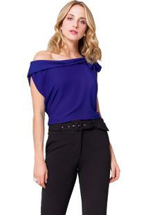 Blusa Mx Fashion Com Amarração Vitória Azul Royal