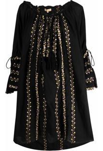 Bytimo Vestido De Algodão Com Bordado Floral - Preto