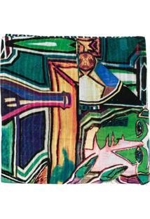 Paul Smith Echarpe Sciarpa Artist Com Bordado - Verde
