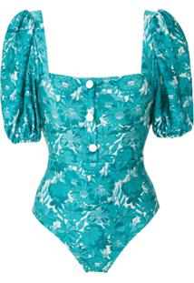 Adriana Degreas Body Flower Bloom Estampado - Azul