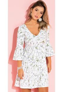 Vestido Floral Branco Com Franzidos