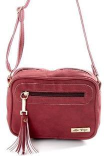 Bolsa Mini Bag Feminina Alça Transversal Zíper Lisa Casual - Feminino-Vermelho