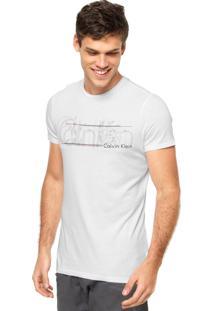 Camiseta Manga Curta Calvin Klein Jeans Estampada Branca