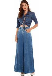 Calça Morena Rosa Pantalona Cós Alto Com Recorte Jeans Feminina - Feminino