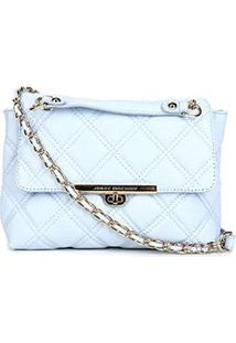 Bolsa Couro Jorge Bischoff Mini Bag Matelassê Feminina - Feminino-Azul Claro
