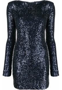 Saint Laurent Vestido Mangas Longas Com Paetês - Azul