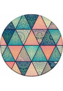 Tapete Love Decor Redondo Wevans Mandalas Em Triângulo Multicolorido 84Cm