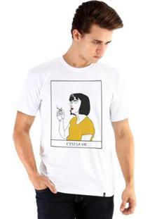 Camiseta Ouroboros Manga Curta C'Est La Vie - Masculino-Branco