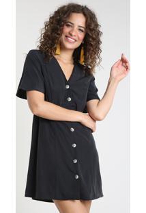 Vestido Feminino Curto Manga Curta Preto