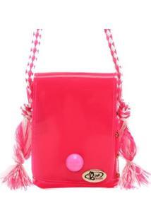 Mini Bolsa Birô Botão Feminina - Feminino-Pink
