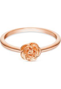 Anel Life Flor Rosa Com Banho Ouro Rosé