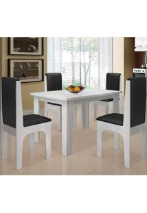 Conjunto Mesa Com 4 Cadeiras - Miami - Dobuê - Branco / Preto