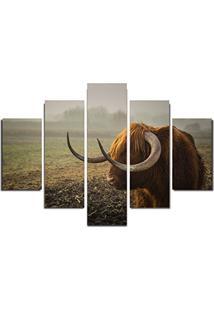 Quadro Painel Mosaico Decorativo 5 Partes Buffalo