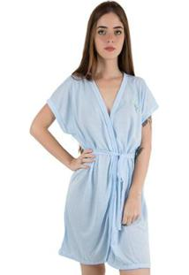 Robe De Malha Linha Noite Feminino - Feminino-Azul