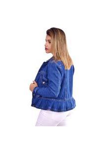 Jaqueta Alcance Jeans Babado Recortes Gode Azul Escuro