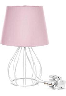 Abajur Cebola Dome Rosa Com Aramado Branco
