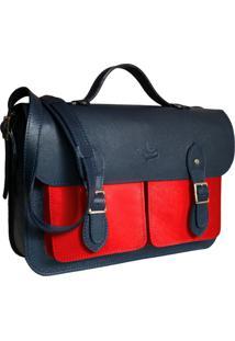 Bolsa Line Store Leather Satchel Pockets Grande Couro Bicolor Marinho X Vermelho - Kanui