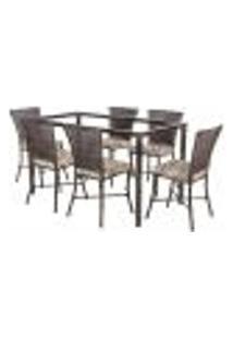 Jogo De Jantar 6 Cadeiras Turquia Pedra Ferro A33 E 1 Mesa Retangular Sem Tampo Ideal Para Área Externa Coberta