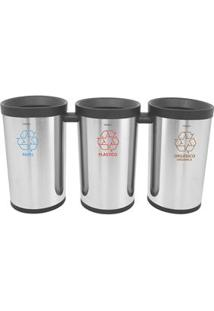 Conjunto Com 3 Lixeiras Tramontina Konika Selecta 94539/003 Em Inox - 50 L