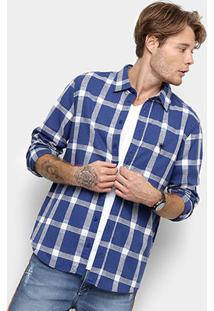 Camisa Xadrez Manga Longa Cavalera Masculino - Masculino-Azul+Branco