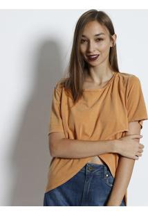 Camiseta Alongada Com Transpasse - Amarelacanal