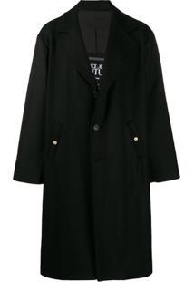 Versace Jeans Couture Trench Coat Com Abotoamento Simples - Preto